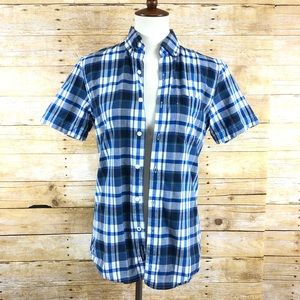 American Eagle Blue and White Plaid Button Up XS